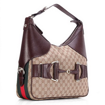 Gucci Heritage Medium GG Fabric Hobo Bag 247602 Coffee