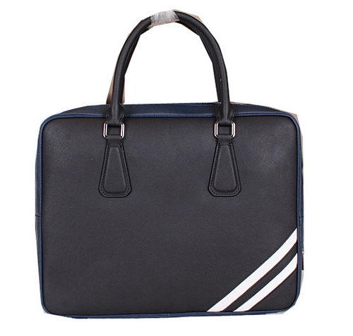 Prada Saffiano Calfskin Leather Briefcase PM24 Black