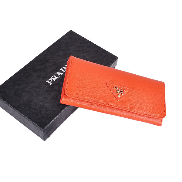 Prada Saffiano Calf Leather Wallet 1M1132 - Orange