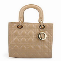 Dior Tote Bags Patent Leather Apricot 6301