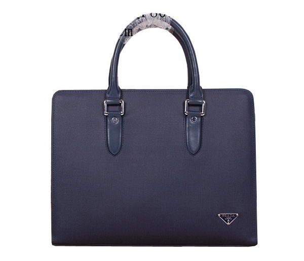 Prada Saffiano Calf Leather Briefcase 80112 Blue