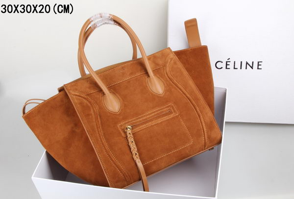 Celine Luggage Phantom Tote Bag Suede Leather 3341 Wheat