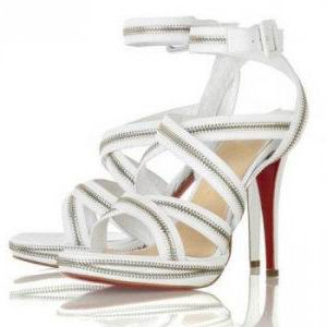Christian Louboutin Rodita Zip White Sandals