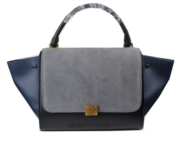 Celine Trapeze Bag Suede Leather C3342 Grey&Black&Royal