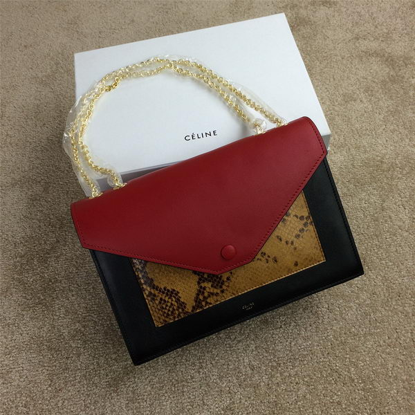 Celine Pocket Handbag Seashell Snake Leather 175383 Black&Wheat&Burgundy