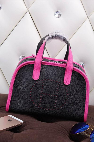Hermes mini Boston Bag Grainy Leather H26 Black&Rosy