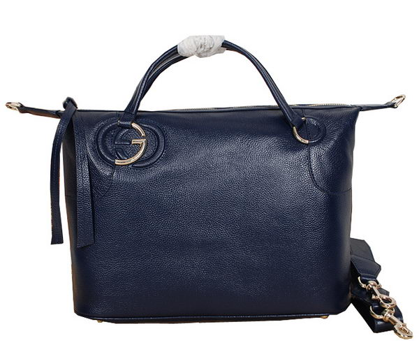 Gucci Twill Calf Leather Top Handle Bag 309529 Blue