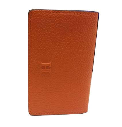 Hermes Grainy Leather Business Card Holder H887 Orange