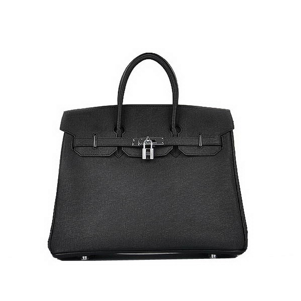 Newest 2012 Hermes Birkin 35CM Black Saffiano Leather Tote Bag Silver