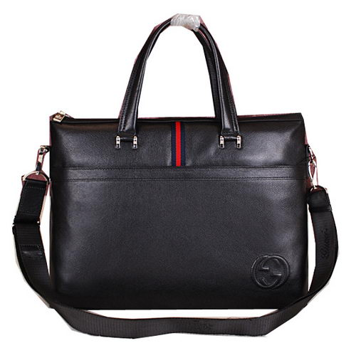 Gucci Smooth Leather Business Briefcase G8067 Black