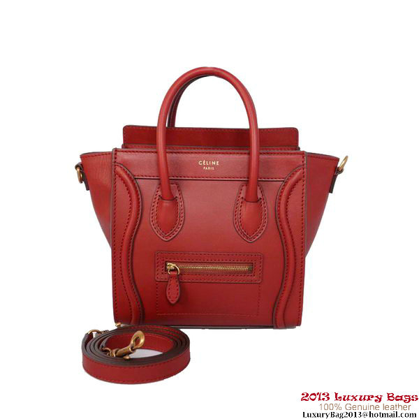 Celine Luggage Nano Shopper Bag Calfskin C1187D Red