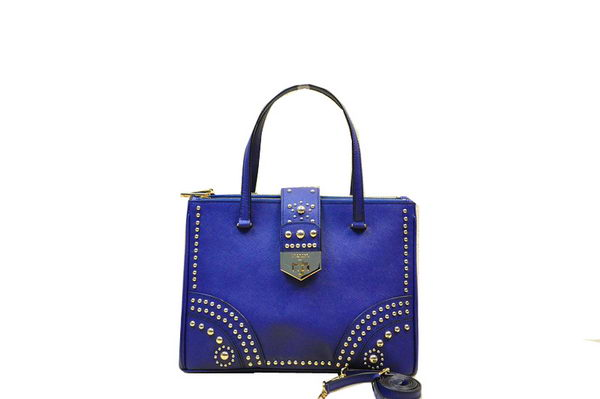Prada Saffiano Leather Tote With Metal Studs B2752M Royal