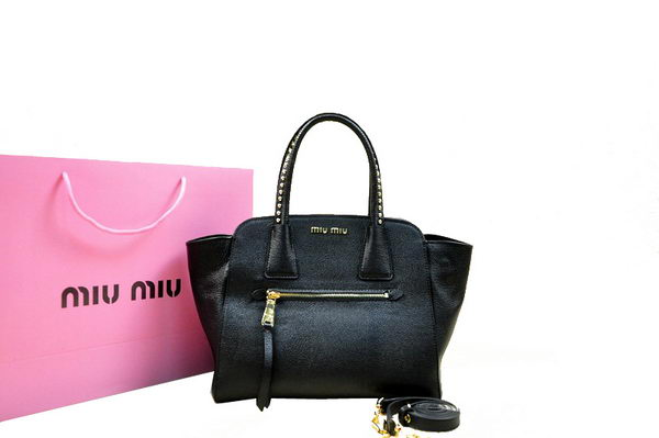 miu miu Goat Skin Leather Top Handle Bag RN0068 Black