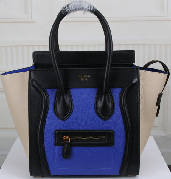 Celine Luggage Micro Boston Bag Original Leather CT3308M Blue&Black&OffWhite