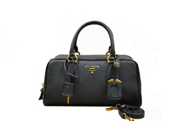 Prada Grainy Leather Boston Bag BN0867 Black