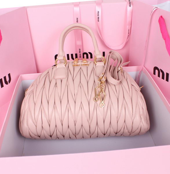 miu miu Matelasse Nappa Leather Boston Bags 81208 Light Pink
