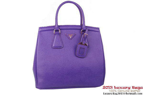 Prada Saffiano Lux Tote Bag BR2404 Dark Purple