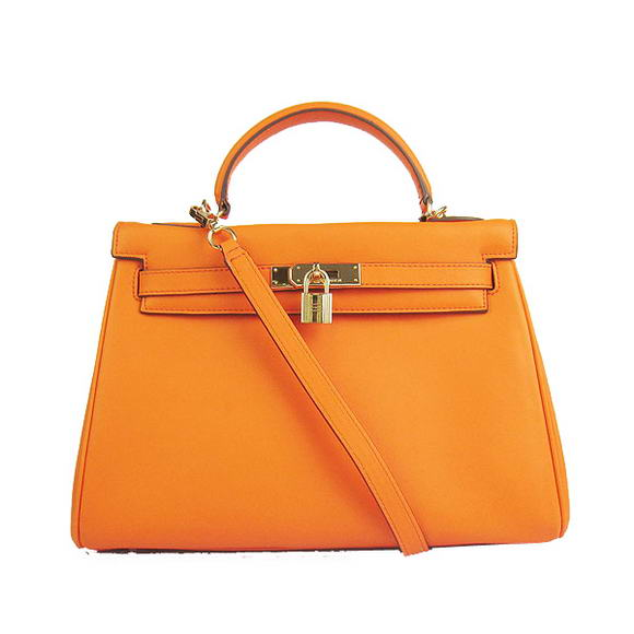 Hermes Kelly 32cm Bags Togo Leather 6108 Orange Golden