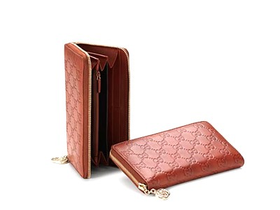 Gucci Guccissima Leather Zip Around Wallet 212110 Red