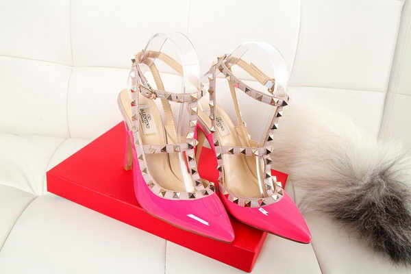 Valentino Patent Leather Rivet 100mm Sandal VT270YZM Rose