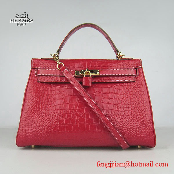 Hermes Kelly 32cm Crocodile Veins Leather Bag Red 6108 Gold Hardware