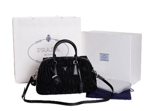 Prada Gaufre Fabric Top Handle Bag BL1407L Black