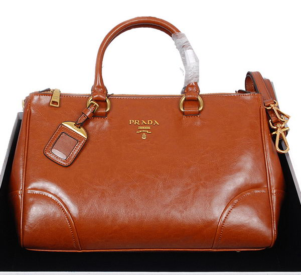 Prada Shiny Calf Leather Tote Bag BN6250 Camel