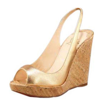 Christian Louboutin Metallic Cork Platform Wedge Gold