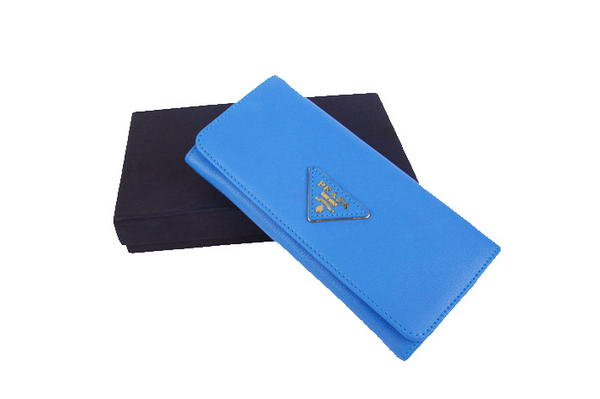 Prada Calf Leather Long Continental Wallet 1M1132 Blue