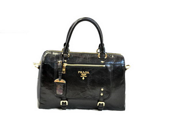PRADA Shiny Leather Tote Bag BN0828 Black