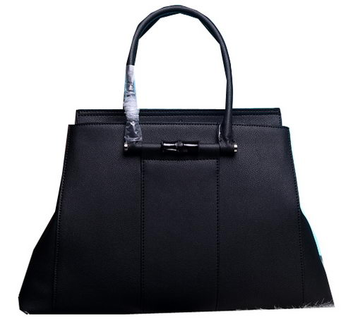 Gucci Lady Bamboo Leather Top Handle Bag 370815 Black