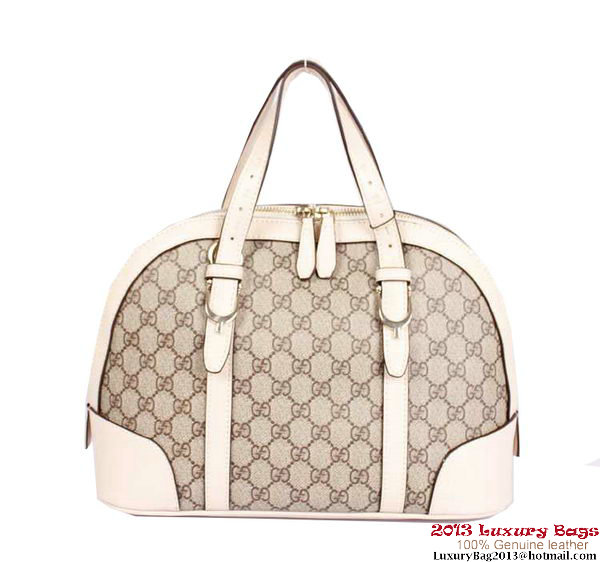Gucci GG Supreme Canvas Nice Small Top Handle Bag 309617 OffWhite