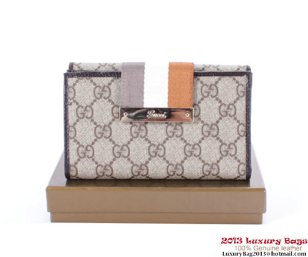 Gucci GG Fabric Canvas Wallet 181667 Brown&White