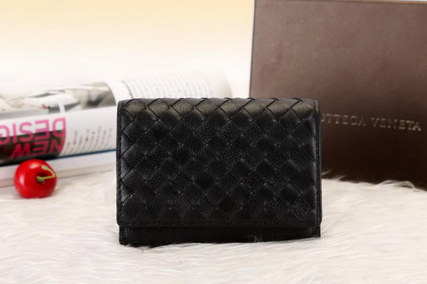 Bottega Veneta Shock Intrecciato Washed Vintage Card Case 133945 Black