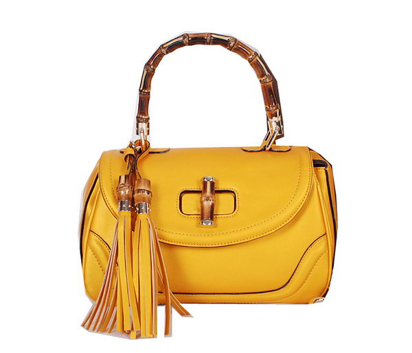 Gucci New Bamboo Medium Top Handle Bag 240242 Yellow