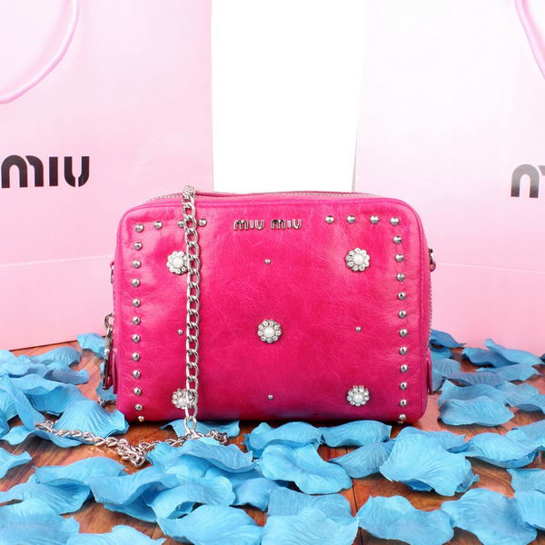 miu miu Original Bright Leather Shoulder Bag 1750 Rose