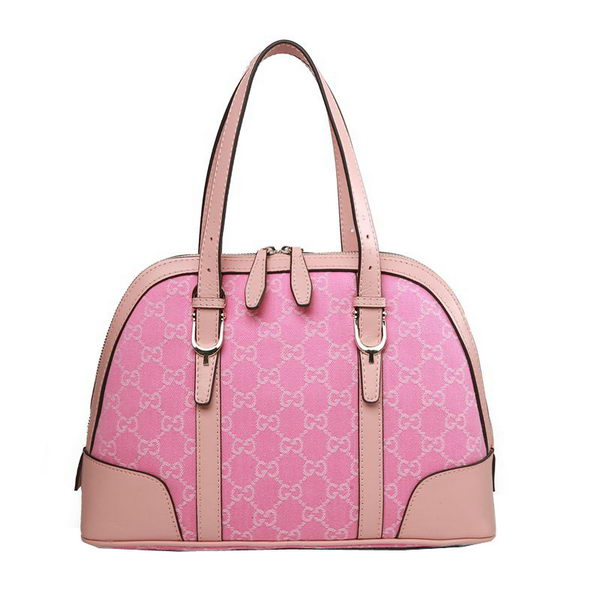 Gucci GG Denim Canvas Nice Star Small Top Handle Bag 309617 Pink