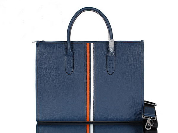 Hermes Mens Briefcase Calf Leather 95518 Blue