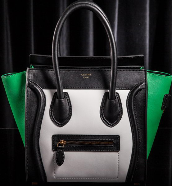 Celine Luggage Micro Boston Bag Original Leather CLT3307 White&Black&Green