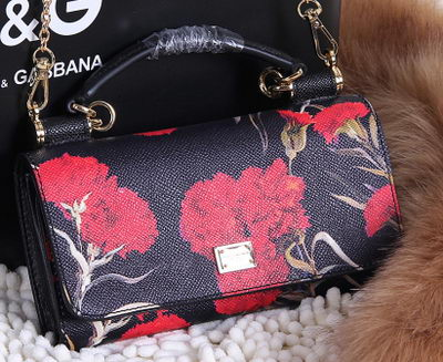 2015 Dolce & Gabbana Calfskin Leather Carnation Shoulder Bag BB13205 Black