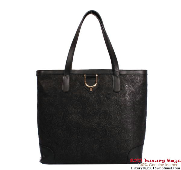 Gucci 305585 Soft Stirrup Black Leather Tote Bag