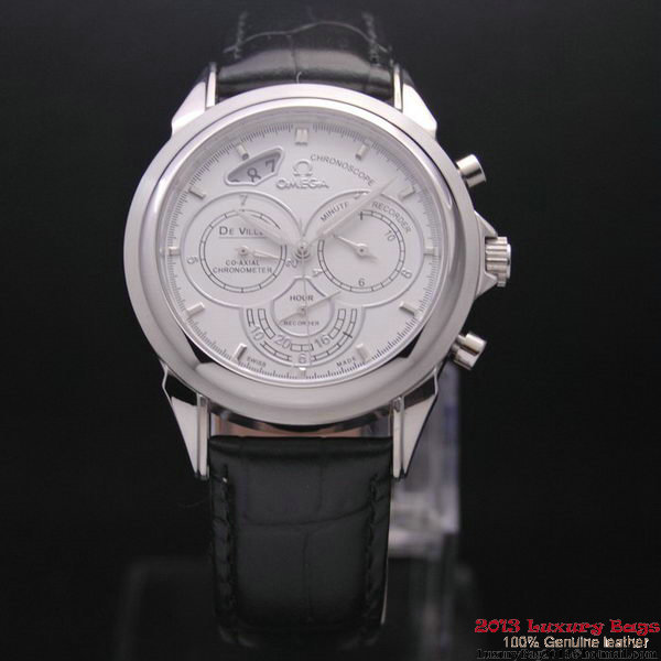 OMEGA DE VILLE CO-AXIAL CHRONOSCOPE Steel on Black Leather Strap OM77402