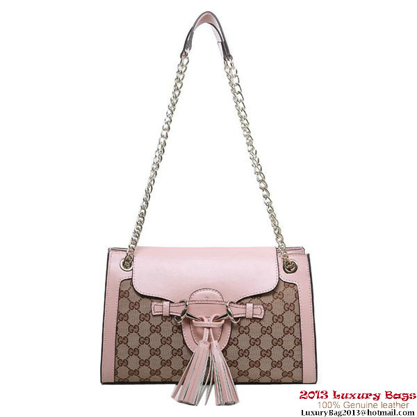 Gucci Emily GG Canvas Chain Shoulder Bag 295403 Pink