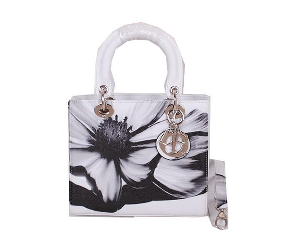 Christian Dior Alstroemeria Flower Lady Dior Bag CD6088 White
