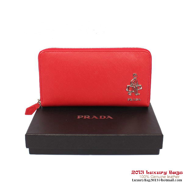 Prada Saffiano Calf Leather Wallet PR2753 Red