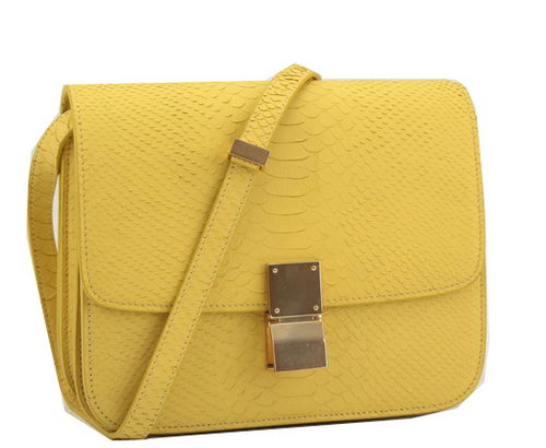 Celine Classic Box Small Flap Bag Original Snake Leather 11042 Yellow