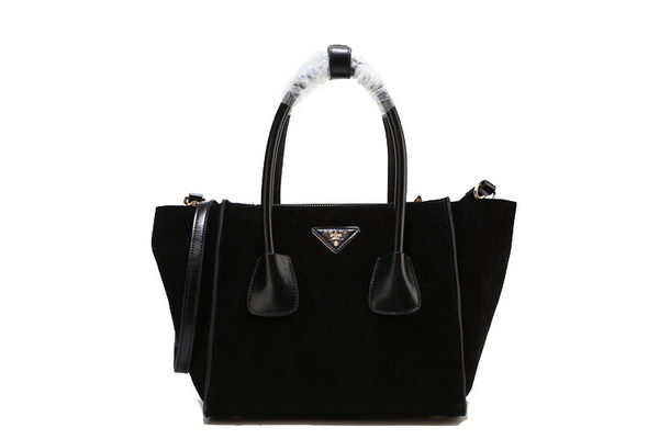 Prada Suede Leather Tote Bag BN2625 Black