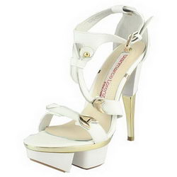 Gianmarco Lorenzi Cutout Platform Sandals Golden Heels White