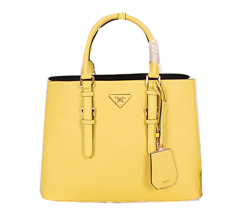 Prada Saffiano Cuir Leather Tote Bag BN2820 Lemon