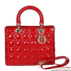 Lady Dior Bag Small Bag D9602 Red Patent Leather Gold